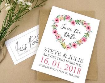Romantic Look, Save the Date, Handpainted Pink Flowers, Heart Wreath, Simple, Elegant, Recycled, Brown Kraft Paper Envelope