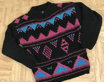 Vintage 80s GOTHAM Sweater Sz Small Black Teal Pink Cosby Shoulder Pads