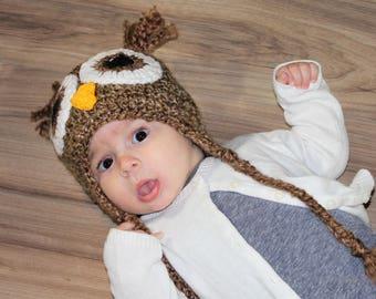Owl Earflap Hat in Brown, Owl Beanie, Owl Toque, Baby Boy Owl Hat, Newborn Owl Hat, Crochet Owl Hat, Crochet Boy Owl Hat, Crochet Owl