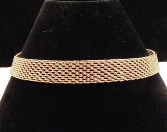 ON SALE Vintage Gold Tone Mesh Chain Necklace