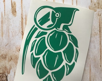 Hops Grenade Decal, Hops Decal, Beer Decal, Beer Sticker, Car Decal, Window Decal, Cup Decal
