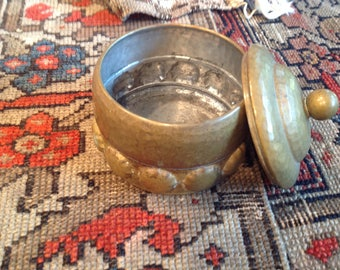 Vintage hammered brass trinket box