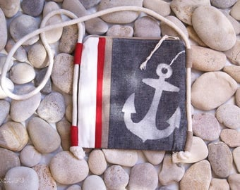 SALE -20%  Anchor Purse Nautical Art! Summer Fashion Design! Sea Style! Strips cotton and linen, nautical rope. Unique gift for her!