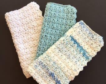 Cotton Dish Cloths ~ Cotton Wash Cloths ~ Kitchen Cloths ~ Dish Rags ~ Crochet Dish Cloths ~ Crochet Dish Cloths ~ Housewarming Gift
