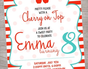 Cherry on top  birthday party invitation. printable. digital download