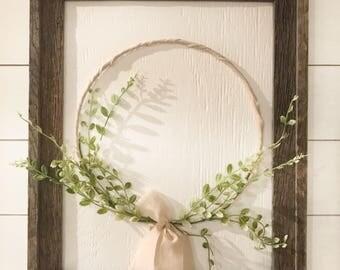 Hand Made Barn Wood Framed Hoop Wreath