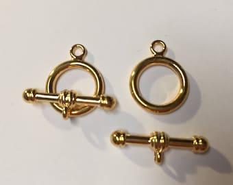 SALE: Clasp Set, Gold Plated Brass Single strand Jewelry Toggle Clasp