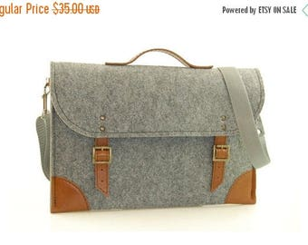 Christmasinjuly Felt Laptop bag 15 inch with pocket, sleeve, Macbook Pro 15 inch, Laptop case, grey felt and brown leather
