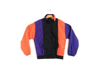 Vintage 80s 90s Colorblock Striped Windbreaker Pull-over Purple Orange Jacket Small