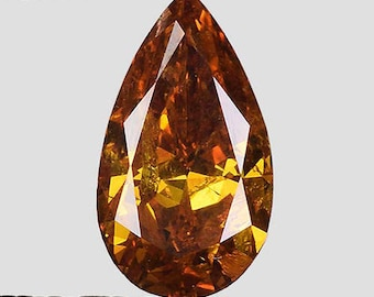 See Video - GIA Certified 0.88ctw Untreated Natural Diamond Pear Fancy Yellow Orange Loose