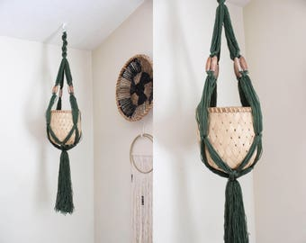 Green Macrame Hanging Planter and Basket Macrame Plant Holder Boho Home Decor