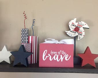 Home Of The Brave - Independence Day, Fourth of July, 4th of July (Red) 4x6 Wood Block