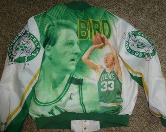 Vtg Larry Bird Boston Celtics NBA Fanimation Chalk Line Satin Jacket Sz Men's XL