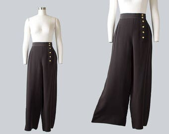 Vintage 1940s Style CHANEL Black Wide Leg Pants | 80s 1980s Designer Palazzo Pants Black Slacks (medium)