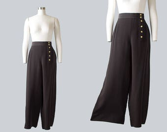 Vintage 1940s Style CHANEL Black Wide Leg Pants | 80s 1980s Designer Palazzo Pants Black Slacks (medium)