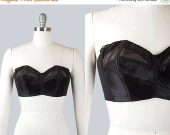 20% OFF SALE Vintage 1950s Strapless Bullet Bra   1950s Black Satin Mesh LADY Marlene Bustier (34C)