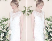 DAISY - boho bridal gown, ivory floral lace with cut away backless design, modern bride simple wedding dress, sz UK 10-12