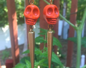 Orange and Gold Indiana Earrings