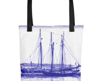 Blue Schooners Tote Bag