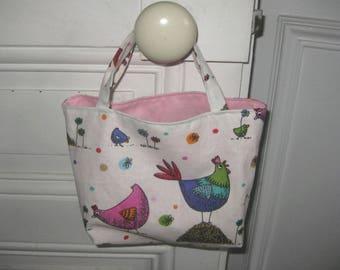 Sac œufs de Pâques,  cadeau enfant fille, tissu poules et coqs doublé piqué de coton rose, fête de Pâques