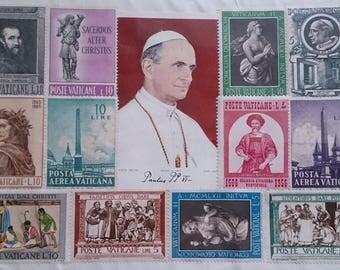 Vintage Vatican Postage Stamps on Sealed Card