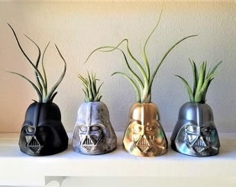 Darth Vader inspired planter, air plant holder, geek chic, gift for nerd, dark side