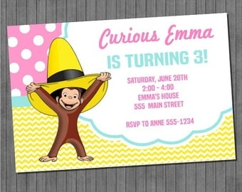 ON SALE Curious George Party Invitation