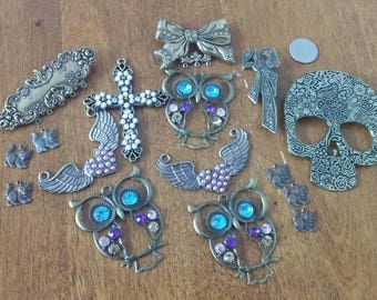 16 Assorted Bronze Pendants Charms Pins