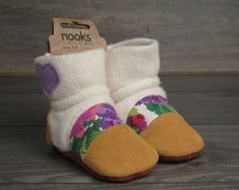 "Nooks Design toddler booties, US Size 5.5 / 12-18m / 5"" length slip-on style"