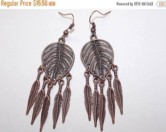 15%OFF Copper Leaf Copper Feather Charms Chandelier Earrings