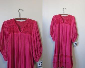 December Sale 1970s pink crochet & cotton gauze dress • 70's boho hippie • Raspberry Compote