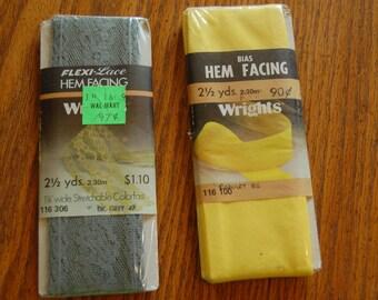 Vintage Wrights Hem Facing, Flexi Lace Hem Facing, Bias Hem Facing, 2 1/ 2yards, sewing notion, sewing supply