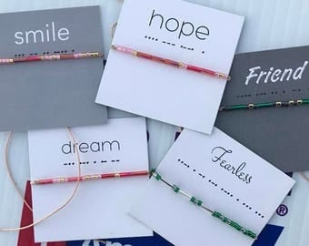 Words To Live By: Wish Bracelets - Smile, Hope, Dream, Fearless, Strength, Friend