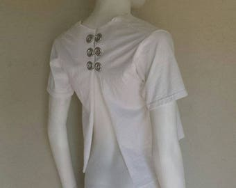 Cropped White grommit pierced t shirt 100% cotton Xs