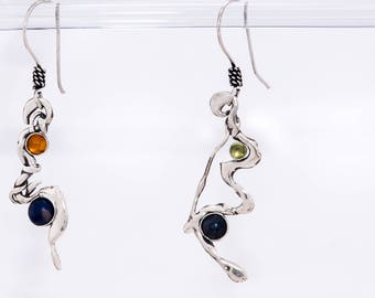 Freeform Sterling Silver earrings, with Lapis, Peridot and Amber stone settings