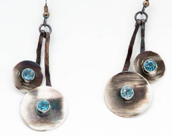 Faceted AA Topaz and Silver, dangle earrings.