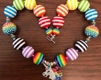 Rainbow Unicorn Bubble Gum Necklaces (Child)