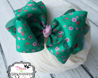 Teal Floral Hair Bow - Double Layer Floral Hair Bow - Fa La La Floral Hair Bow