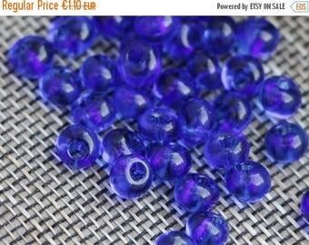 ON SALE -15% Czech Drops seed beads 05/0 20g 5mm Transparent Dark Blue Preciosa Ornela Drops Capri Blue Rocaille size 8