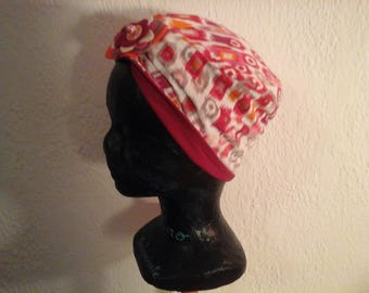 Multicolored, reversible, stretchy child chemo hat, season, summer
