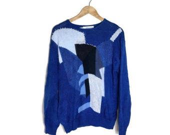 80s embellished jumper // blue white fluffy sweater // mixed wool patchwork jumper / xmas jumper / blue 80s batwing jumper // boho applique