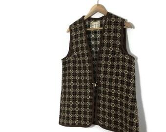 Brown cream welsh wool gillet / vintage wool waistcoat / 60s 70s welsh tweed gillet waistcoat / 70s sleeveless jacket / retro welsh wool