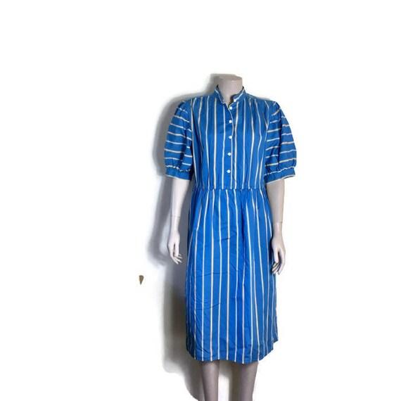 Vintage blue shirt dress // blue striped vintage day dress // boho cotton dress // large vintage blue dress // 1980s boho dress