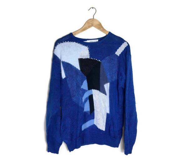 80s embellished jumper // blue white fluffy sweater // mixed wool patchwork jumper / xmas jumper / blue 80s batwing jumper // boho applique