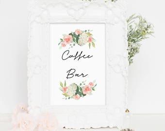 Printable Coffee Bar Sign, Coffee Bar Printable, Wedding Coffee Bar Sign, Wedding Sign, Coffee Bar Calligraphy Print, 4x6, 5x7, 8x10, wp03