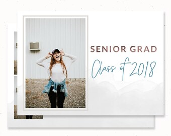 Senior Graduation Invitation 2018, Modern Graduation Announcement, High School Graduation Announcement, High School Graduation Card, m208