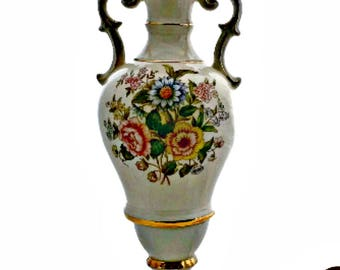 Double Handle Urn Lamp Large Table Lamp Floral and Gold Trim
