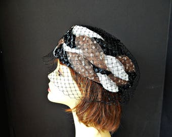 Pillbox Hat Braided Tulle and Straw with Netting Veil Black Brown White