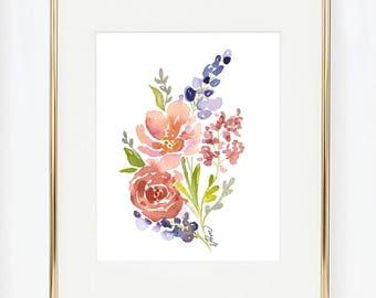 Purple Lavender and Roses Watercolor Flower Arrangement Print