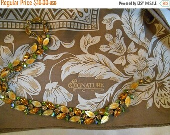 XMASJOYSALE SIGNATURE ECHO Silk Scarf, Brown, Tan with Cream, Floral Motif, Center Medallion Large 39 x 39, Vintage